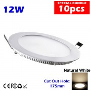 10pcs 12W LED Slim Panel Downlight Natural White without LED Drivercut out size 175mm