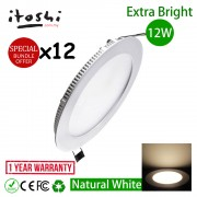12pcs 12W 6 Inch LED Slim Panel Downlight Natural White