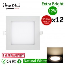 12W 6 Inch Square LED Ceiling Display Light Natural White 12pcs