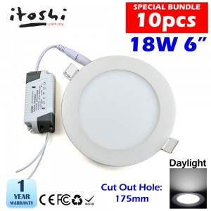 18W 6 Inch Led Panel Downlight Round LED Ceiling Recessed Light Daylight White 10pcs Package
