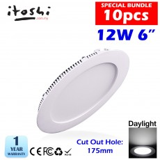 12W Led Panel Downlight Round LED Ceiling Recessed Light Daylight 10pcs Bundle
