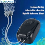 SOBO Aquarium Oxygen Air Pump Adjustable Double Output Fish Tank 2 x 4L/min SB-8804 Aquaponics