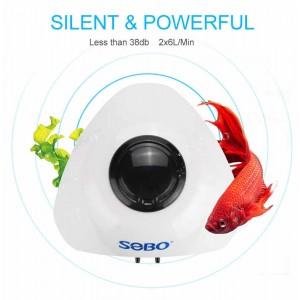 SOBO Fish Tank Oxygen Air Pump Adjustable Outlet Aquarium Inflation Air Compressor 6L/min SB 830A Aquaponics