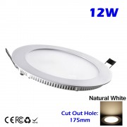 12W Round LED Recessed Slim Panel Downlight Natural White Color without LED Driver cut out size 175mm