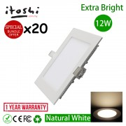 12W 6 Inch Square LED Ceiling Display Light Natural White 20pcs