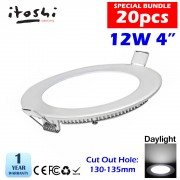 LED Round 4˝ 12W Panel Light Downlight Ceiling light Lamp Daylight 20pcs Package