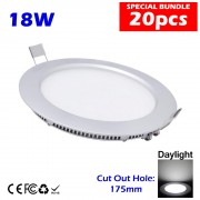 18W 6 Inch Led Panel Downlight Round LED Ceiling Recessed Light Daylight White 20pcs Package without LED Driver cut out size 175mm