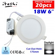 18W 6 Inch Led Panel Downlight Round LED Ceiling Recessed Light Daylight White 20pcs Package