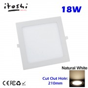 18W LED Recessed Type Downlight Ceiling Lighting Natural White 4500K without LED Driver cut out size 210mm