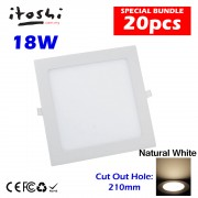 20pcs 18W LED Ceiling Light Living Hall Kitchen Square Natural White  without LED Driver cut out size 210mm