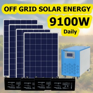9100W Watt Daily Usage Off Grid Solar Power System for Refrigerator Light TV Fan Phone Charging