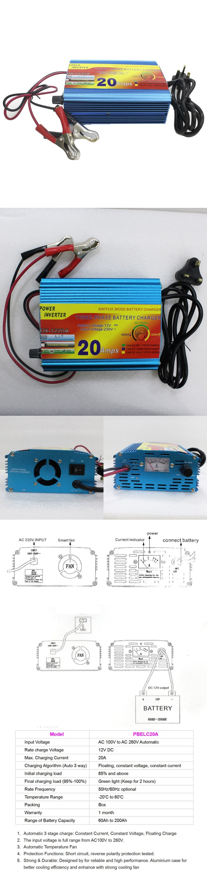 20A 12V Auto Battery Charger for Lead Acid Battery / Gel Battery 60Ah 65Ah  100Ah 150Ah 200Ah | PrestoMall - Batteries