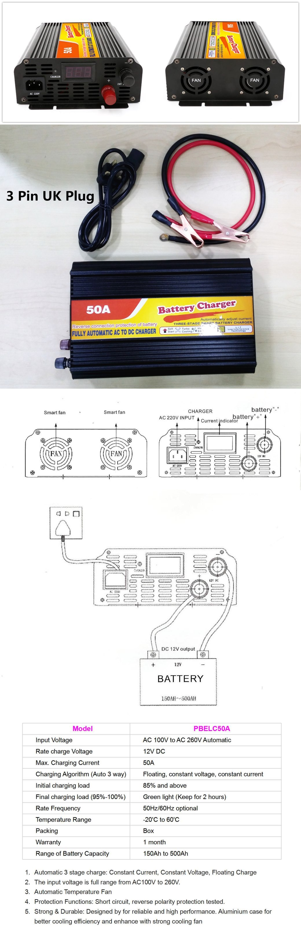 Battery Charger 50A 12V for UPS Solar Lorry Boat Battery