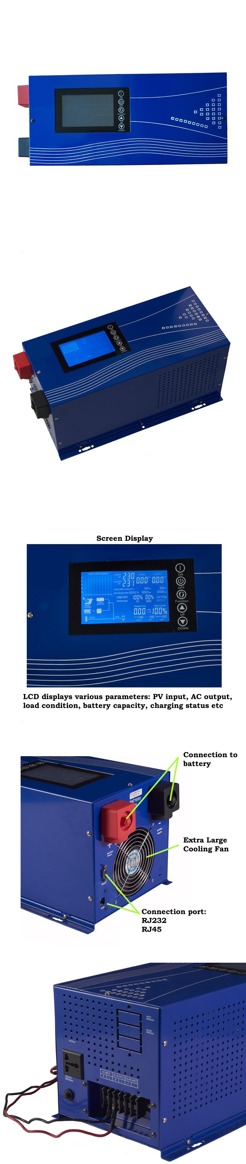 Hybrid Solar Inverter 5000w 96v Psc G Home Power System Biner Box Wiring Diagram Its Professional Lcd Display Offers User Configurable And Easy Accessible Button Operation Such As Battery Charging Current Ac Charger Priority